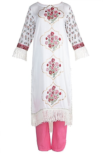 White Cotton Kurta Set by Maayera Jaipur