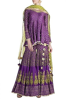 Purple Cotton Sharara Set by Maayera Jaipur