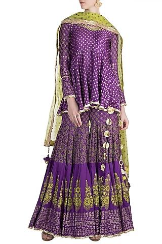 Purple Cotton Sharara Set by Maayera Jaipur