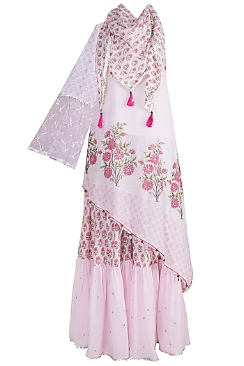 Blush Pink Off Shoulder Sharara Set by Maayera Jaipur