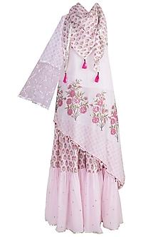 Blush Pink Off Shoulder Sharara Set by Maayera Jaipur