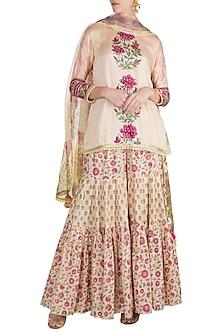 Yellow Cotton Sharara Set by Maayera Jaipur