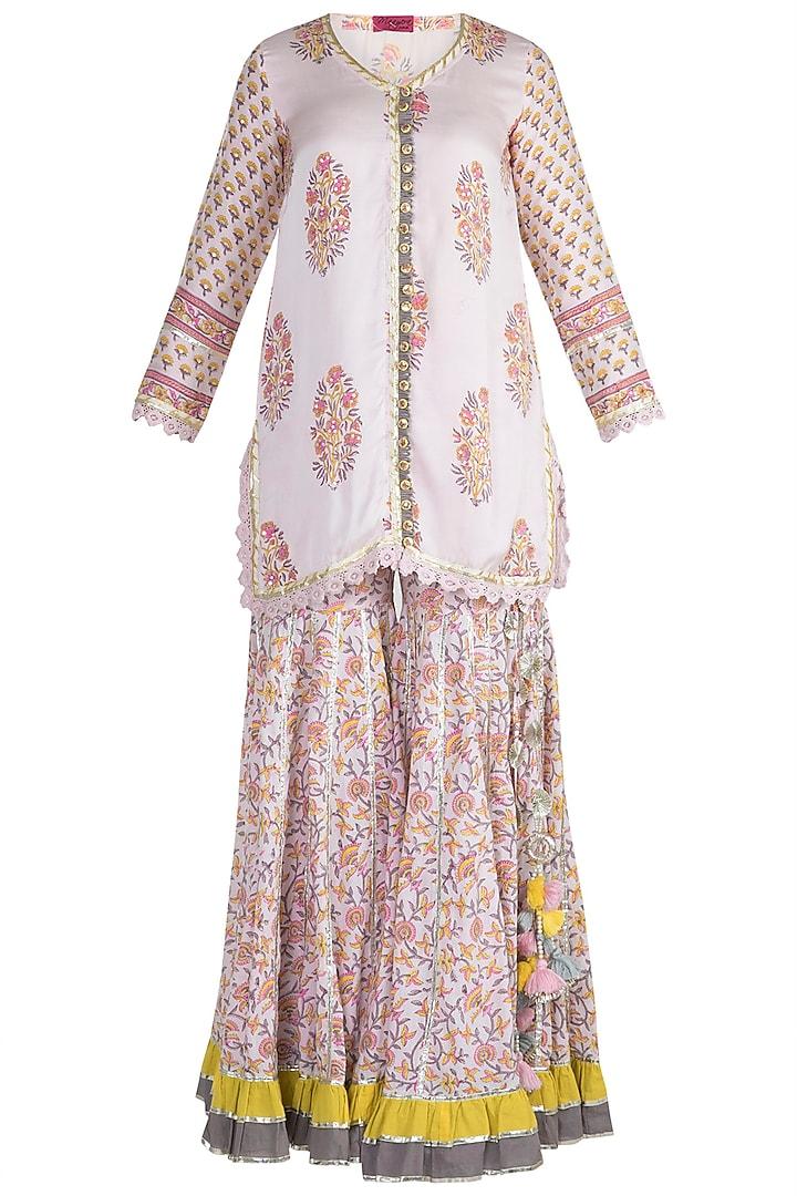 Blush Pink Cotton Sharara Set by Maayera Jaipur