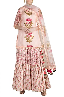 Peach Cotton Sharara Set by Maayera Jaipur