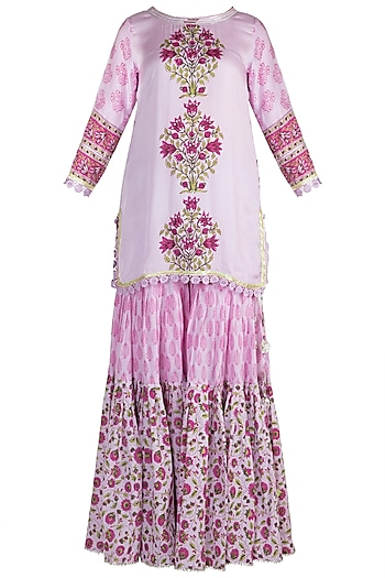 Mauve Cotton Sharara Set by Maayera Jaipur