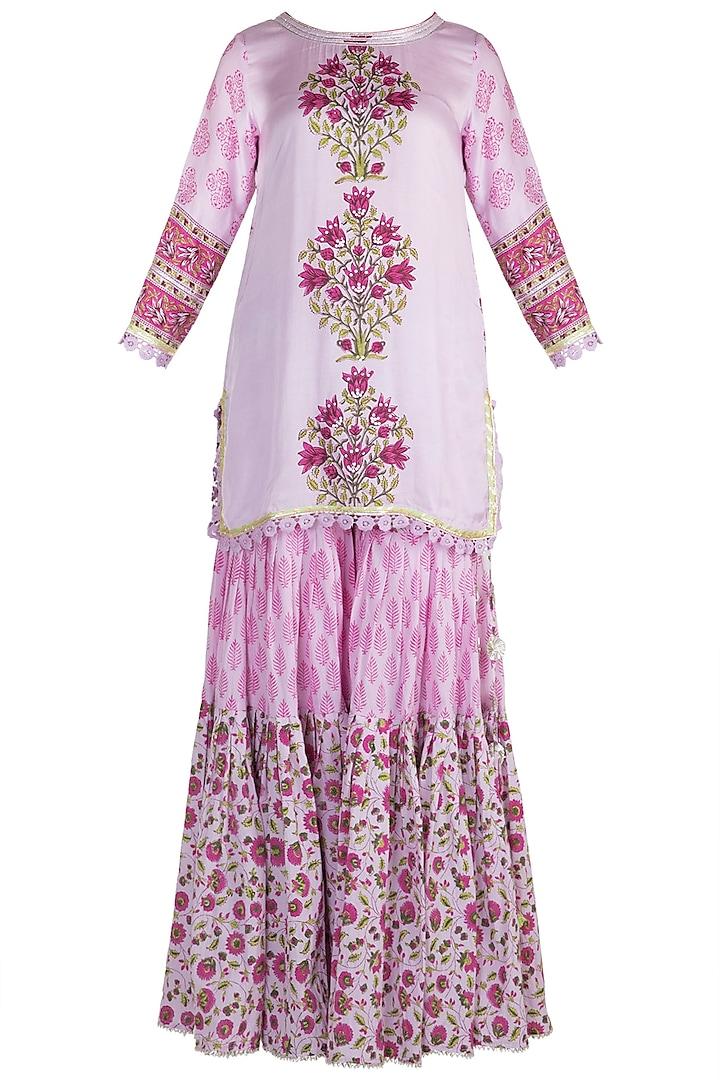 Mauve Cotton Sharara Set by Maayera Jaipur