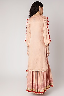 Beige & Red Sharara Set by Maayera Jaipur