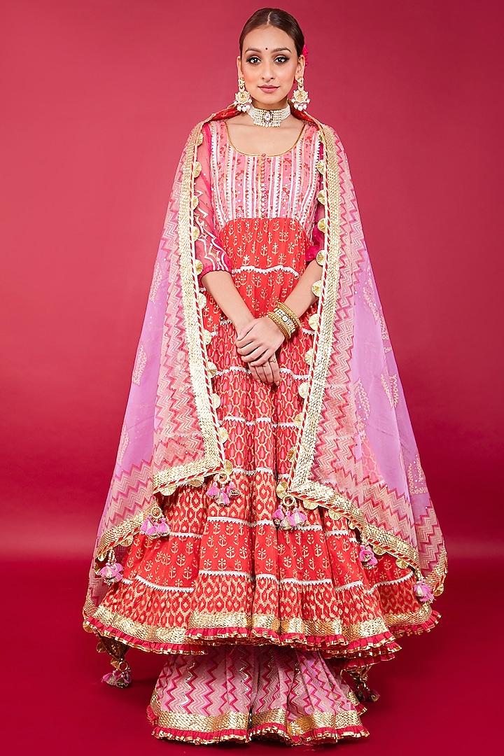 Blush Pink & Red Swiss Cotton Anarkali Set by Maayera Jaipur