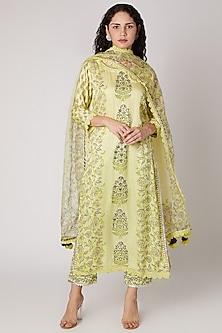 Lemon Green Printed Kurta Set by Maayera Jaipur