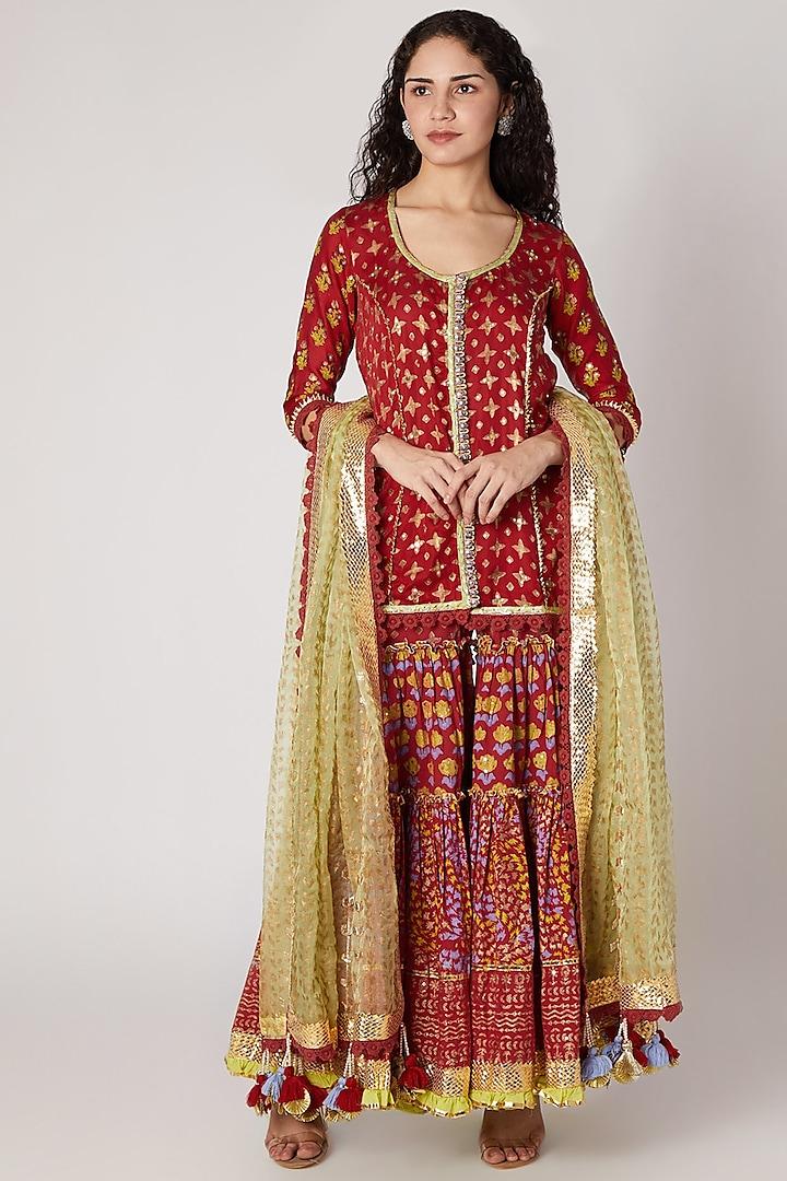 Red Printed Sharara Set by Maayera Jaipur