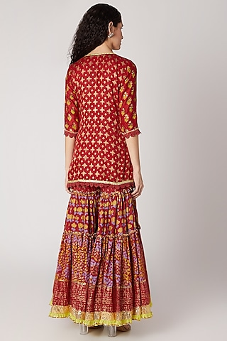 Red Printed Sharara Set by Maayera Jaipur