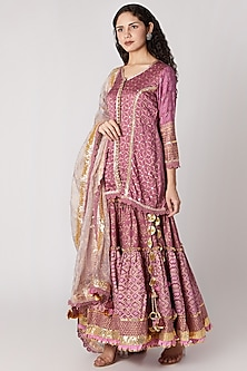 Mauve Printed Sharara Set by Maayera Jaipur