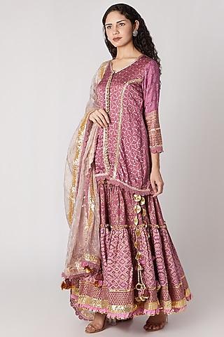 Mauve Printed Sharara Set by Maayera Jaipur