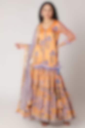 Orange Block Printed Sharara Set by Maayera Jaipur
