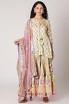 Light Yellow Sharara Set by Maayera Jaipur