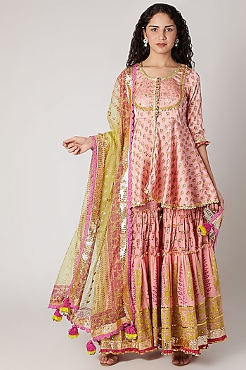 Peach Block Printed Sharara Set by Maayera Jaipur