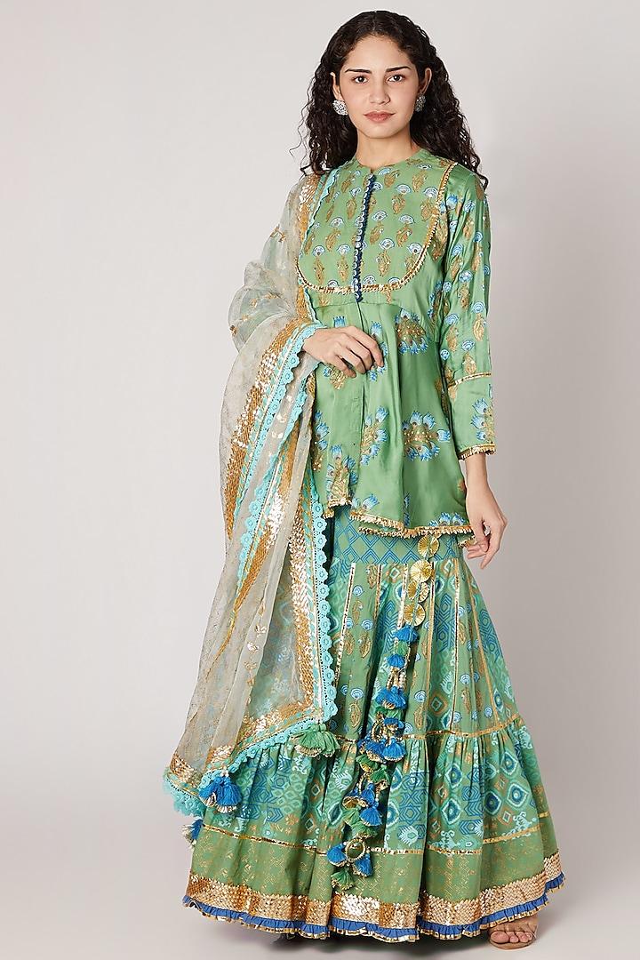 Green Block Printed Sharara Set by Maayera Jaipur