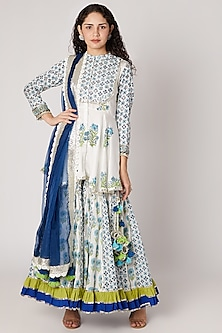 White Base Block Printed Sharara Set by Maayera Jaipur