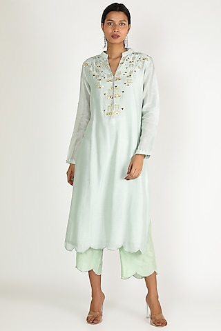 Aqua Blue Embroidered Tunic Set by Maithili by Anju Nath
