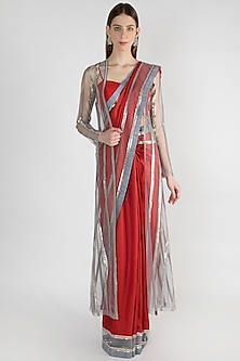 Red Embroidered Saree Set With Jacket by Mandira Bedi