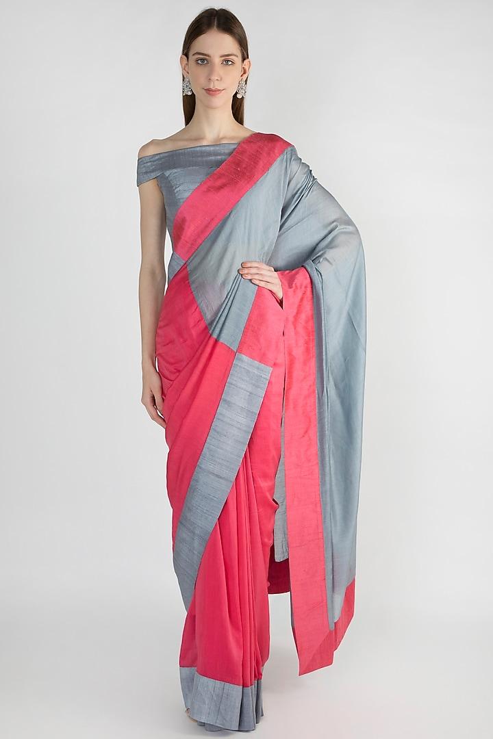 Raspberry & Grey Embroidered Saree Set by Mandira Bedi