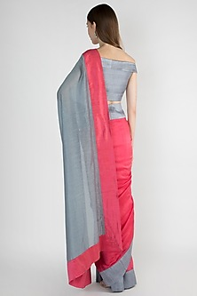 Raspberry & Grey Embroidered Saree Set by Mandira Bedi