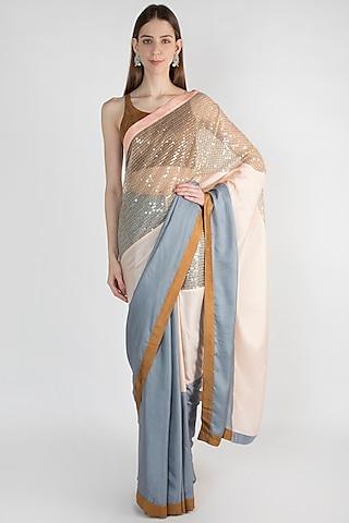 Grey & Light Pink Embroidered Saree Set by Mandira Bedi