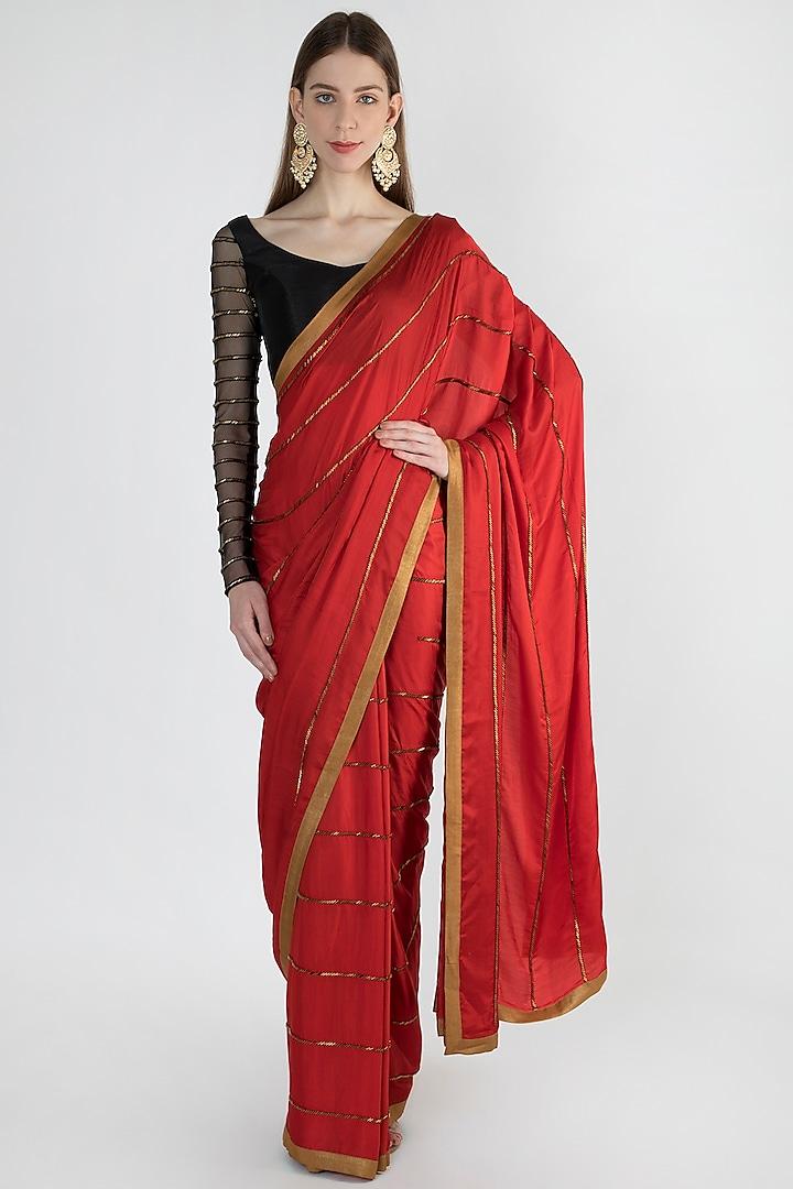 Red & Antique Gold Hand Embroidered Saree Set by Mandira Bedi