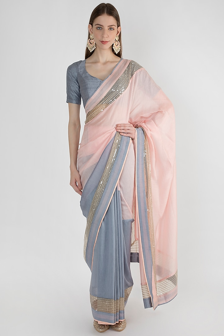 Light Pink & Grey Embroidered Saree Set by Mandira Bedi
