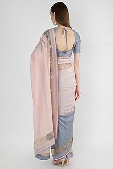 Light Pink & Grey Embroidered Saree Set by Mandira Bedi