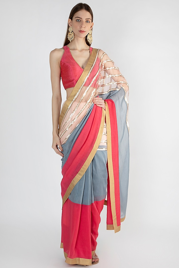 Multi Colored Embroidered Saree Set by Mandira Bedi