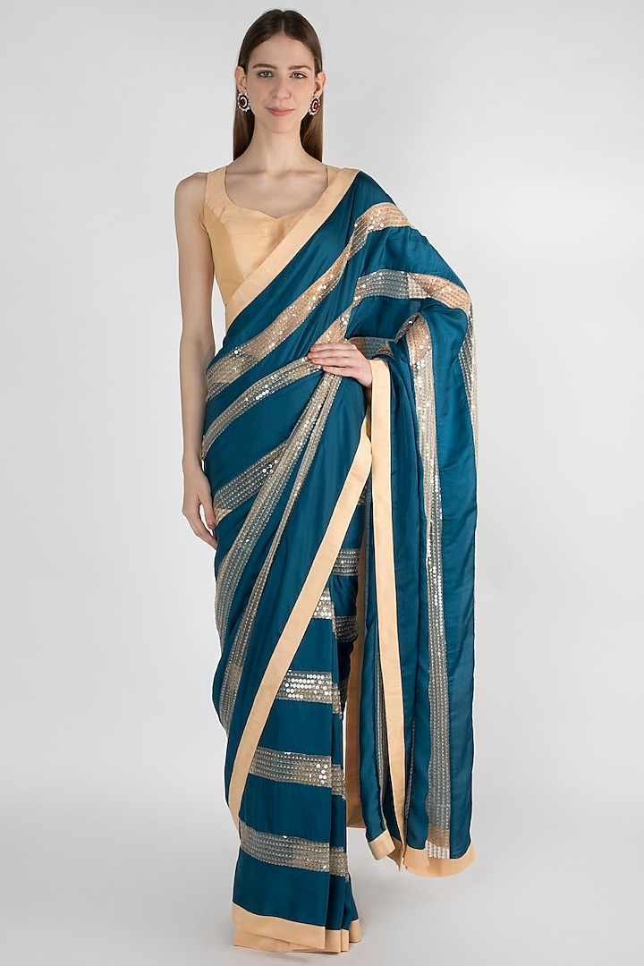 Teal Blue & Beige Embroidered Saree Set by Mandira Bedi