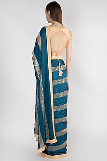 Teal Blue & Beige Embroidered Saree Set by Mandira Bedi