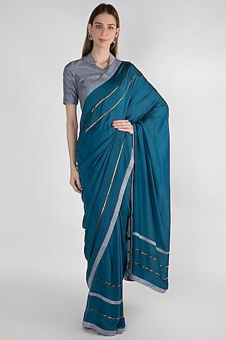 Teal Blue Embroidered Silk Saree Set by Mandira Bedi