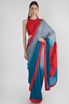 Teal Blue & Grey Shaded Embroidered Saree by Mandira Bedi