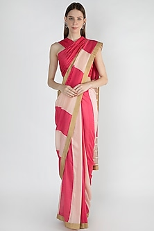 Light Pink & Raspberry Embroidered Striped Saree Set by Mandira Bedi