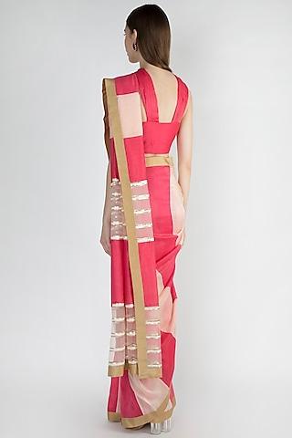 Light Pink & Raspberry Embroidered Striped Saree Set by Mandira Bedi