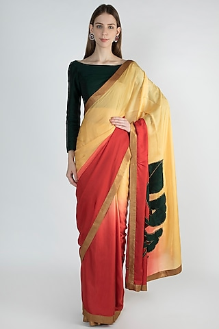 Red & Beige Shaded Embroidered Saree by Mandira Bedi