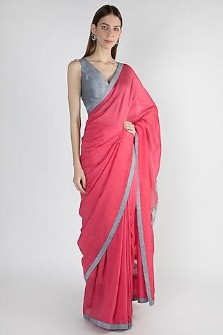 Raspberry Embroidered Striped Saree Set by Mandira Bedi