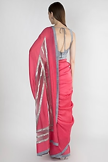 Raspberry Embroidered Striped Saree Set by Mandira Bedi