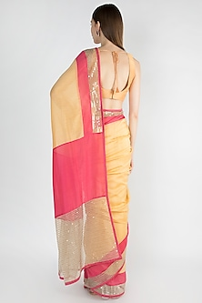 Beige Embroidered Saree Set With Double Border by Mandira Bedi