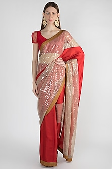 Red Embroidered Saree Set With Silk Border by Mandira Bedi
