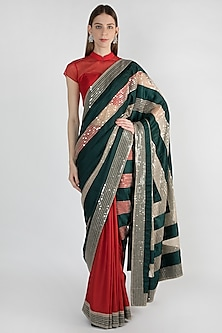 Red & Green Embroidered Saree Set by Mandira Bedi