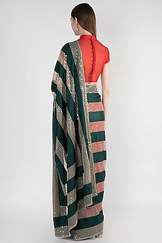 Red & Green Embroidered Saree Set by Mandira Bedi