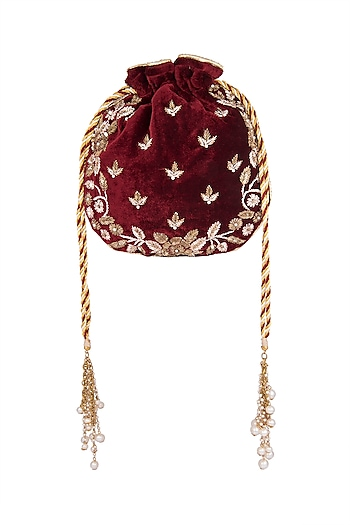 Maroon Embroidered Batwa Potli by Malaga