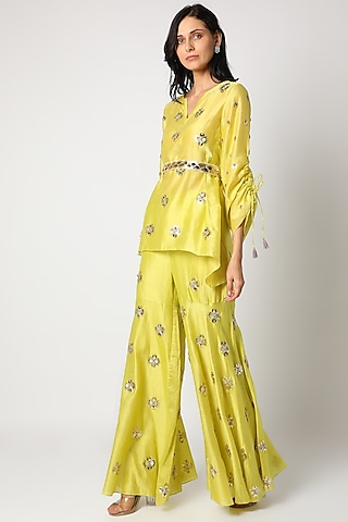 Lime Green Embroidered Sharara Set by Maison Blu
