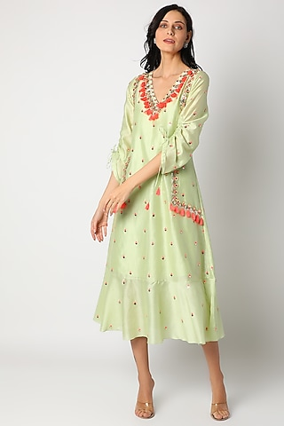 Pistachio Embroidered Dress by Maison Blu