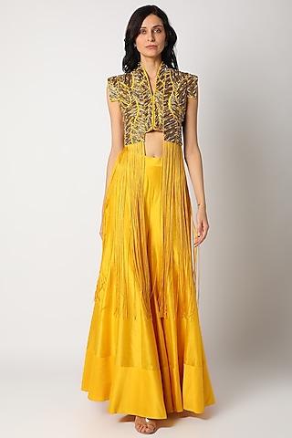 Mustard Yellow Embroidered Sharara Set by Maison Blu