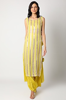 Yellow Embroidered Kurta Set by Maison Blu-POPULAR PRODUCTS AT STORE