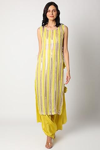 Yellow Embroidered Kurta Set by Maison Blu
